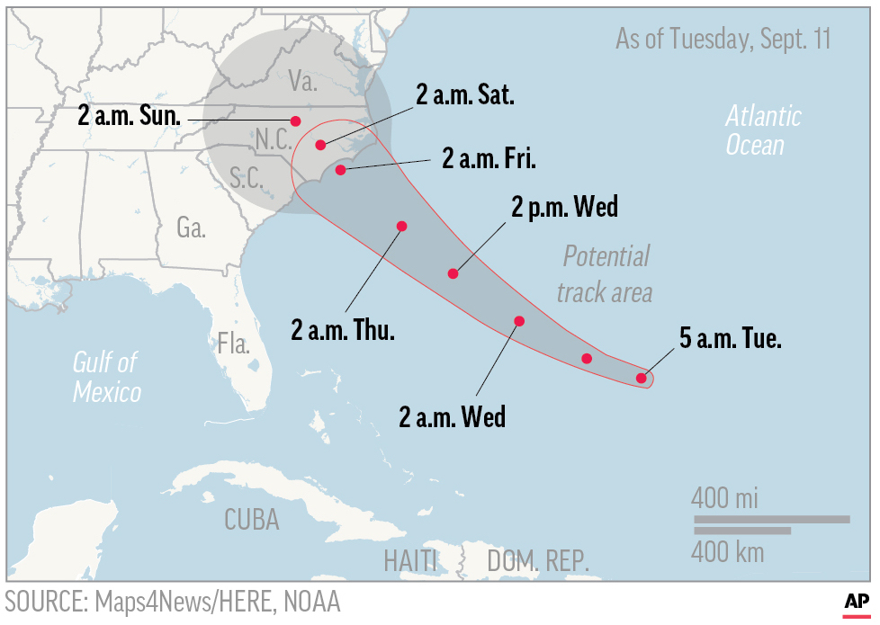 This map shows the probable path of Hurricane Florence.