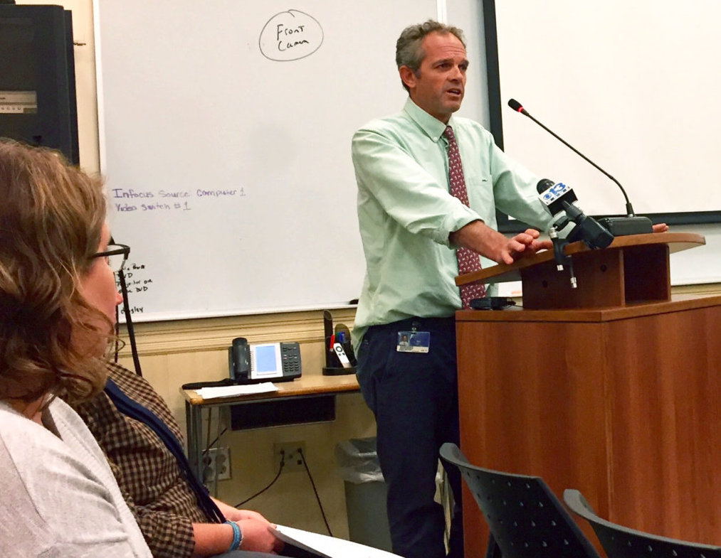 Lewiston High School teacher and registered Maine Guide Corey Walker urged the School Committee on Monday not to prevent Lewiston students from accessing the water.
