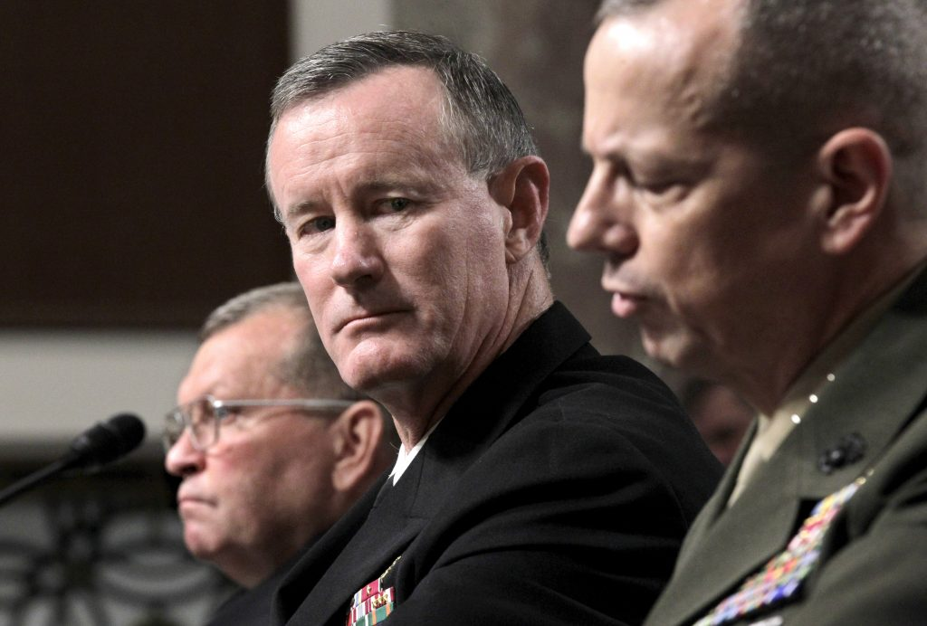 Navy Vice Adm. William H. McRaven, center, nominee to become commander of the U.S. Special Operations Command, listens to testimony by Marine Lt. Gen. John Allen, right, nominee to become commander of U.S. forces in Afghanistan, during a confirmation hearing on Capitol Hill in Washington, Tuesday, June 28, 2011. At left is Gen. James D. Thurman, nominee to become commander of U.S. forces in Korea.  (AP Photo/J. Scott Applewhite)