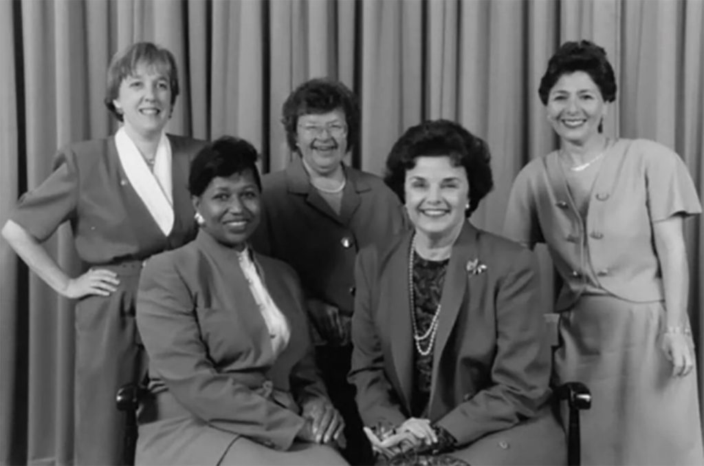 Among the women elected to the Senate in 1992 were, clockwise from upper left, Patty Murray, D-Washington, Barbara A. Mikulski, D-Maryland, Barbara Boxer, D-California, Dianne Feinstein, D-California, and Carol Moseley Brown, D-Illinois.