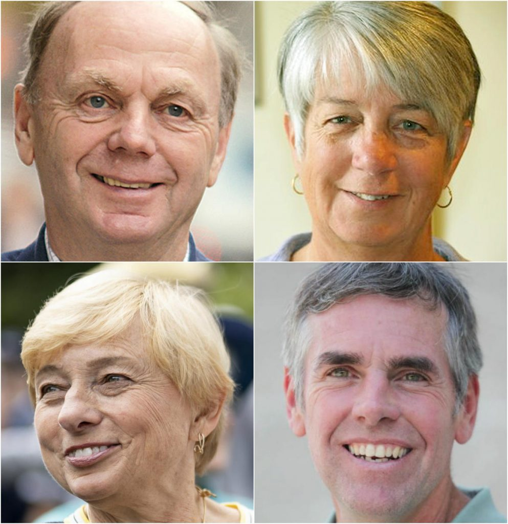 Clockwise from top left: Alan Caron, Terry Hayes, Shawn Moody, Janet Mills