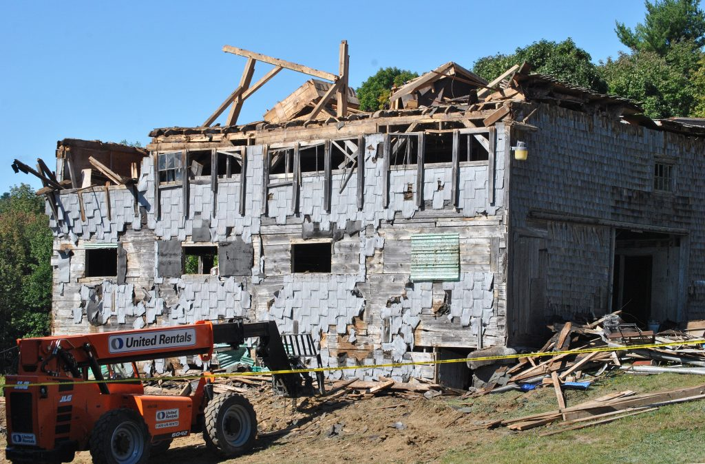 First responders were at the scene of a barn collapse in Knox that killed one person on Thursday morning, Sept. 13, 2018.