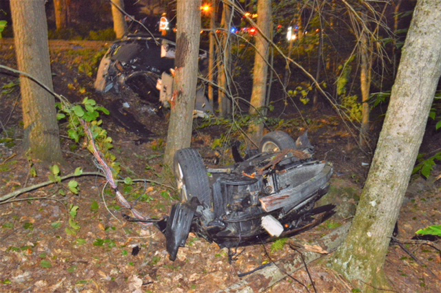 A car driven by Warren Kimball left Cambell Shore Road in Gray and crashed into some trees Friday night.