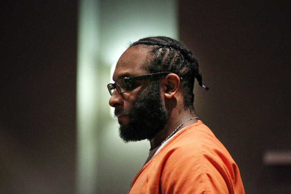 David Marble Jr. enters the courtroom for a hearing on Friday at Cumberland County Court House. Marble sought a new trial after a jury convicted him of murdering two Augusta residents in an execution-style shooting early on Christmas day. Judge Michaela Murphy denied the appeal.