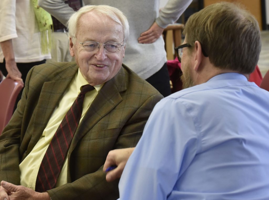 Kevin Concannon, left, former undersecretary of the U.S. Department of Agriculture for Food, Nutrition and Consumer Affairs, speaks on Oct. 17 with Chris O'Brien, chairman of the University of Maine Farmington's social science department before Concannon's talk about combating poverty.