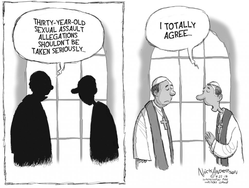 This editorial cartoon deftly makes the case for reforming the institutional response to sexual-assault allegations, a reader says.