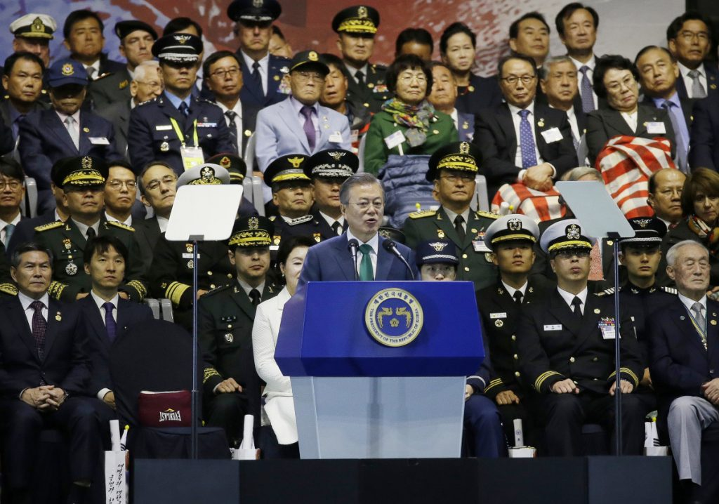 South Korean President Moon Jae-in speaks during the 70th anniversary of Armed Forces Day at the War Memorial of Korea in Seoul, South Korea, Monday, Oct. 1, 2018. (AP Photo/Ahn Young-joon/Pool)