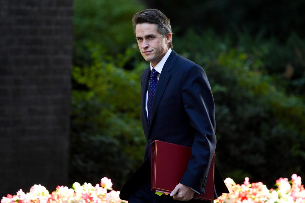 British Defense Secretary Gavin Williamson at No. 10 Downing Street in London on Sept. 13, 2018. Bloomberg/Chris J. Ratcliffe.