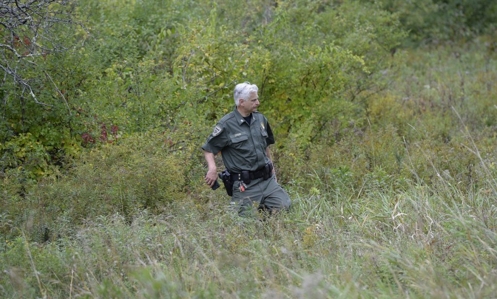 Maine Warden Tim Spahr searches for Kristin Westra of North Yarmouth on Thursday.