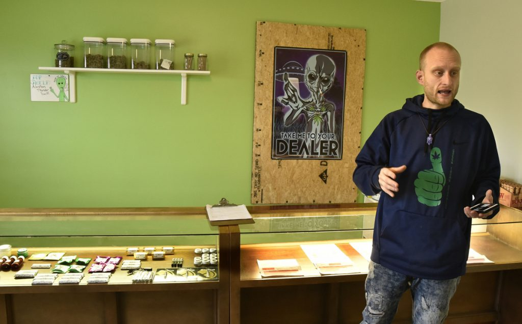 Green Thumb Organics shop owner Dan Hall on Thursday described the scene he found after thieves broke into the Armory Road business through the now-boarded-up window behind him and stole medical marijuana products.
