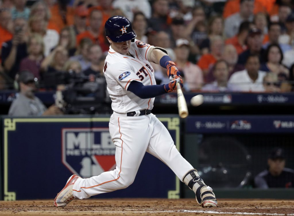 Alex Bregman hits one of three homers Friday off Cleveland starter Corey Kluber, who did not complete five innings.
