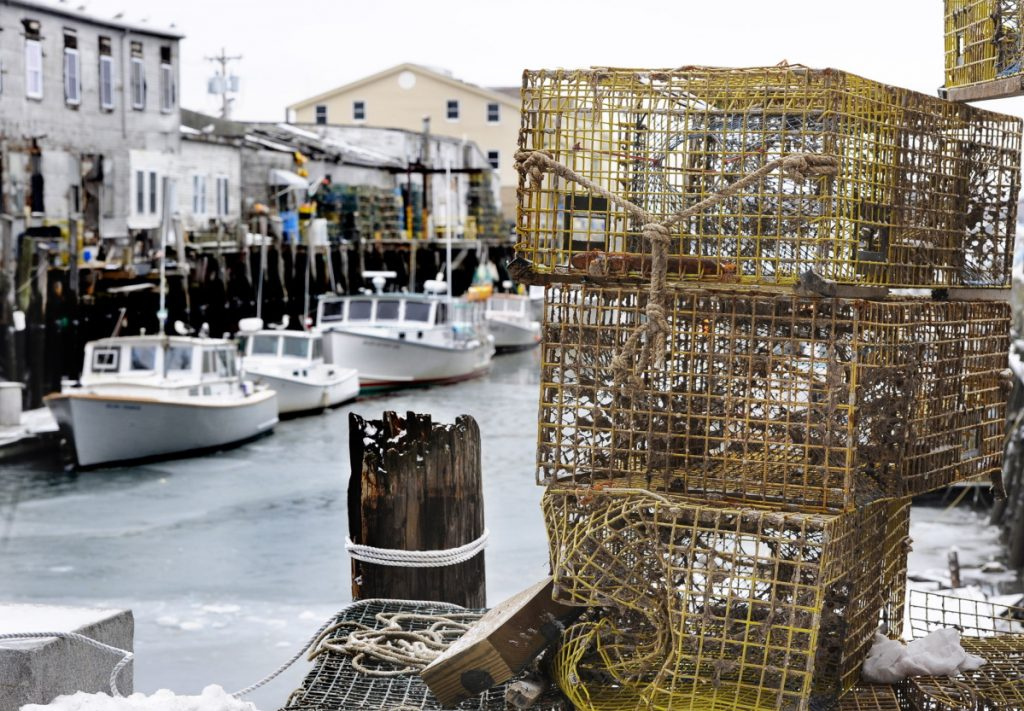 Lobster boats and traps along Custom House Wharf in Portland. The Maine Department of Marine Resources, the agency that regulates the $434 million lobster fishery, and the Maine Lobstermen's Association are questioning the science of a report from the Northeast Fisheries Science Center aimed at protecting endangered Atlantic right whales. Proposals include closing the fishery in the western Gulf of Maine south of Cape Elizabeth during April, cutting the number of seabed-to-surface lines that can entangle whales, and making lobstering a ropeless fishery by 2020.