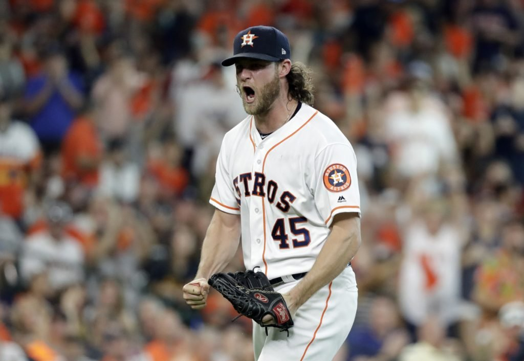 Astros starting pitcher Gerrit Cole reacts after striking out Cleveland's Jose Ramirez to end the sixth inning during Houston's 3-1 win in Game 2 of their American League Division Series on Saturday in Houston. The Astros lead the series 2-0.