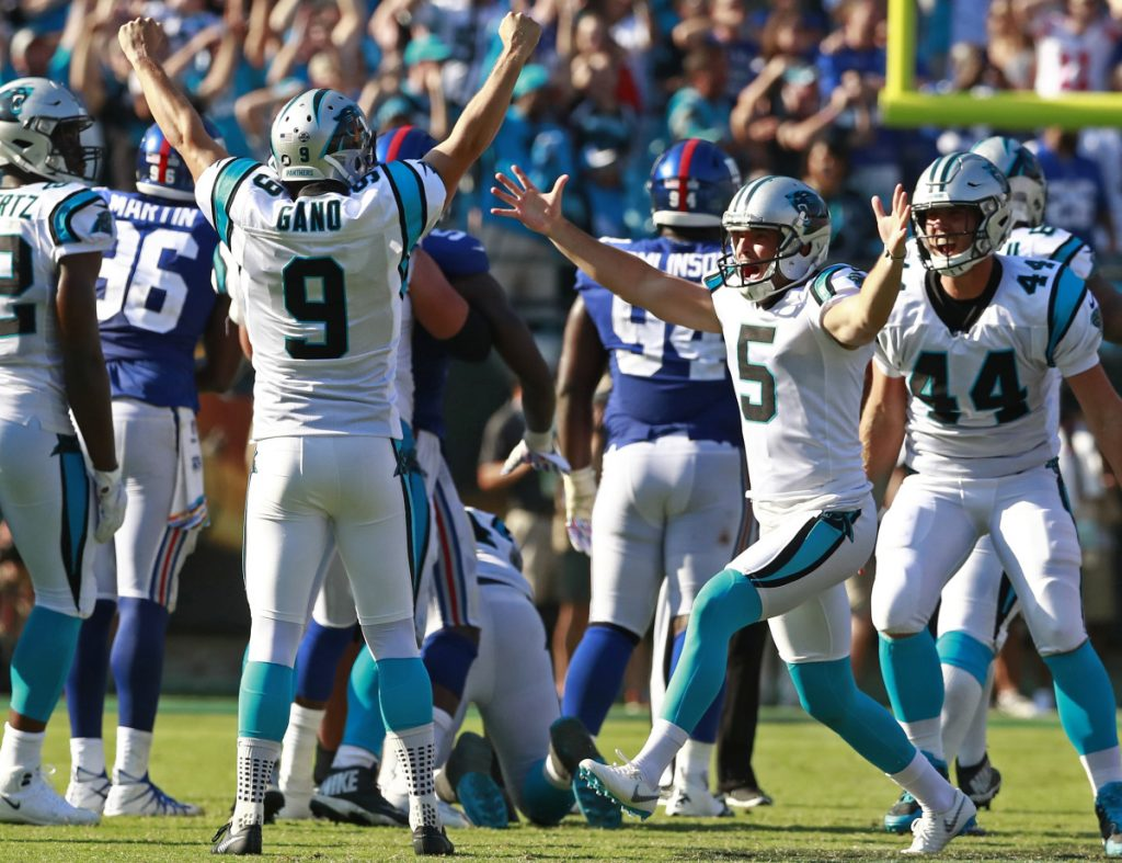 Carolina's Graham Gano celebrates his 63-yard field goal that lifted the Panthers to a 33-31 win Sunday against the New York Giants.