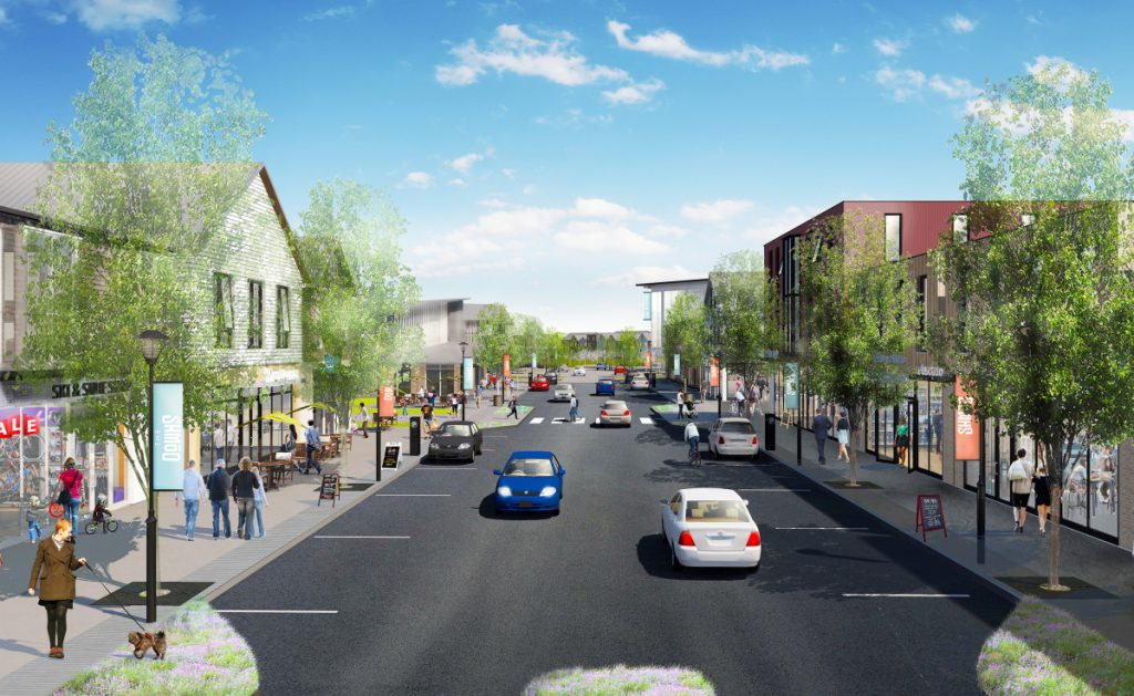 This rendering shows what Main Street might look like if a village center is built at Scarborough Downs.
