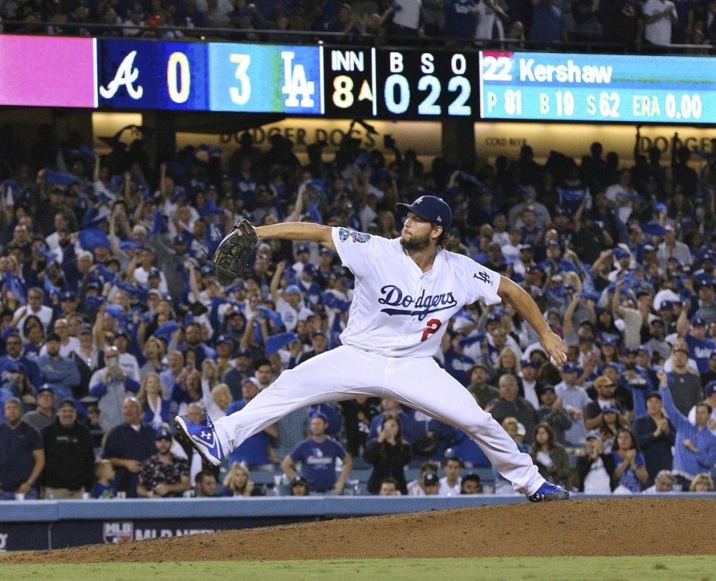 Clayton Kershaw, coming off eight scoreless innings against Atlanta in Game 2 of the NL Division Series, will be on the mound Friday night for the Dodgers in Game 1 of the NL Championship Series.