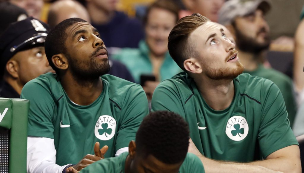 Kyrie Irving, left, and Gordon Hayward were spectators last season as the Boston Celtics made their surprising run to Game 7 of the Eastern Conference finals. Now they're back to join a deep team that doesn't have to deal with LeBron James anymore.