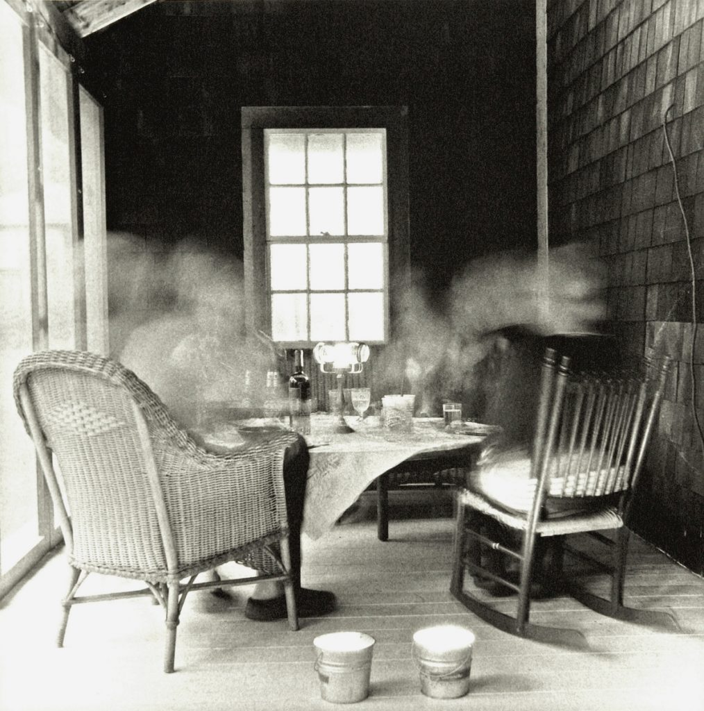 """Dinner Party (Porch)"" by Claire Seidl, gelatin silver photograph, 2014, 23 by 23 inches."