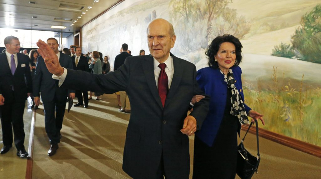 Russell Nelson leaves with his wife, Wendy Nelson, after a news conference announcing his new leadership in the wake of the death of President Thomas Monson on Jan. 16 in Salt Lake City.