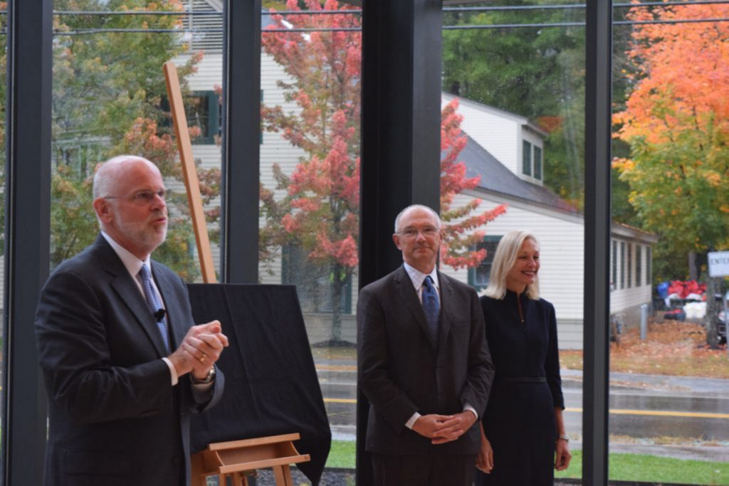 Bowdoin College President Clayton Rose introduces the Roux Center for the Environment with donors David and Barbara Roux.