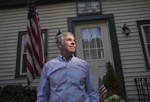 Republican Shawn Moody stands outside his childhood home in Gorham last month. A Freedom of Access Act request by the Press Herald for Maine Human Rights Commission records revealed no other complaints against Moody or his businesses.