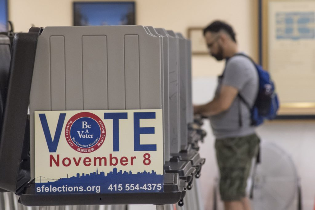 A voter casts a ballot in San Francisco on Nov. 8, 2016.