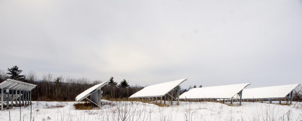 A solar farm on Morrison Heights Road on Feb. 9 in Wayne. Farmington residents will have the chance to provide feedback on a proposed 490-acre solar farm off Route 2 on Monday.