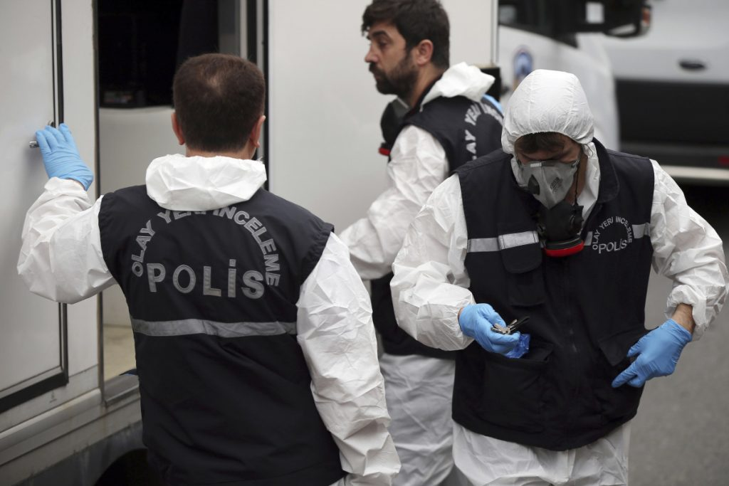 Turkish police prepare to enter the home of Saudi consul General Mohammed al-Otaibi in Istanbul on Wednesday to conduct a search in the disappearance and alleged slaying of Jamal Khashoggi. A pro-government Turkish newspaper published a gruesome account Wednesday of the alleged slaying of Khashoggi at the Saudi Consulate in Istanbul.