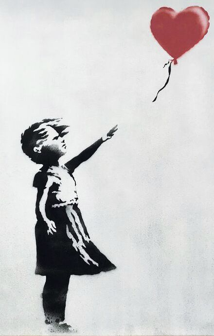 "The spray-painted canvas ""Girl with Balloon"" by artist Banksy is pictured."