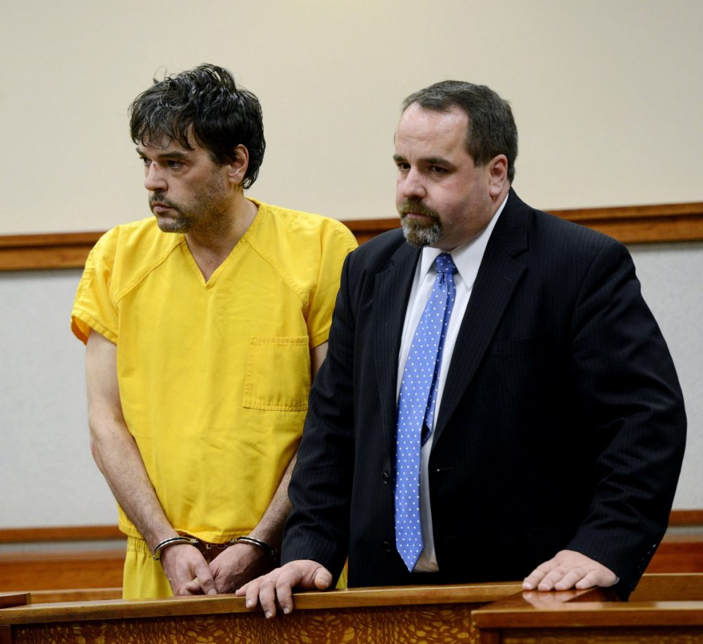 Andy Leighton with his attorney, Robert LeBrasseur, in 2013. He pleaded guilty to his mother's murder and entered the Maine State Prison on Jan. 6, 2015. His fellow inmates say he was sent back to his cell even after telling staff he was having trouble breathing. Staff file photo by Shawn Patrick Ouellette