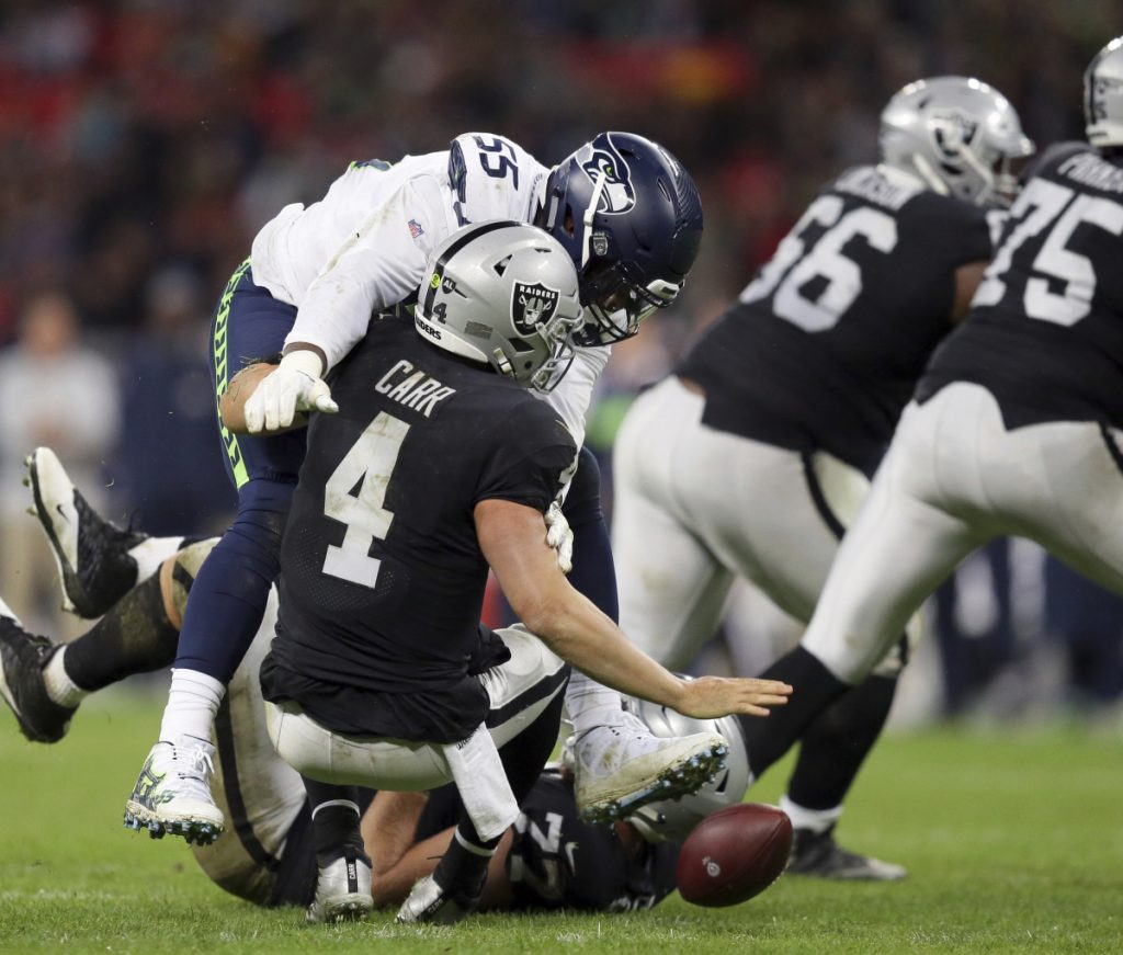 Quarterback Derek Carr and the Raiders have taken their lumps this season, winning once in six games. But better days are ahead, but they will no doubt come when they move to Las Vegas.