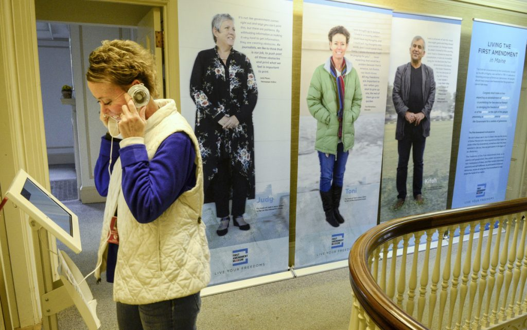 Toni Richardson interacts with an exhibit at the First Amendment Museum in Augusta, expected to fully open to the public by 2020.