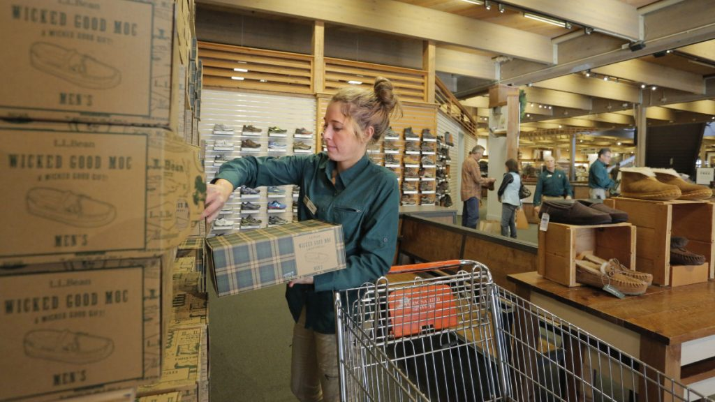 Abigail Schuster stocks moccasins at L.L. Bean in 2016.