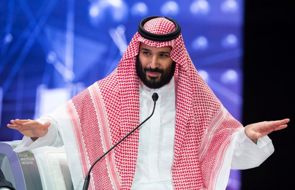 Saudi Crown Prince Mohammed bin Salman addresses the Future Investment Initiative conference, in Riyadh, Saudi Arabia, on Wednesday.