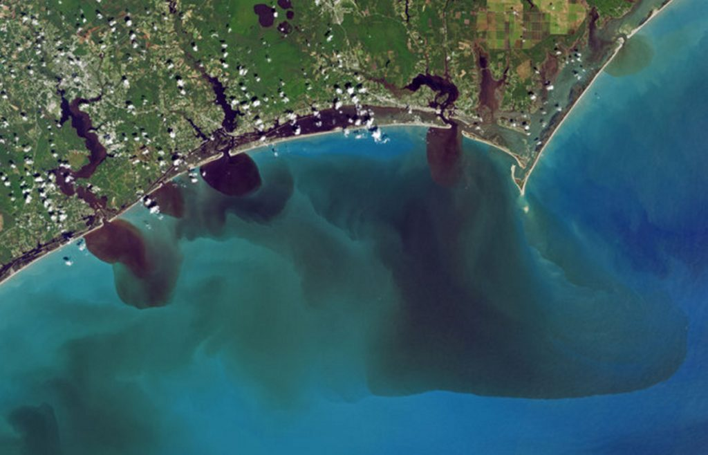 Polluted rivers in North Carolina flow into the Atlantic Ocean after Hurricane Florence last month.