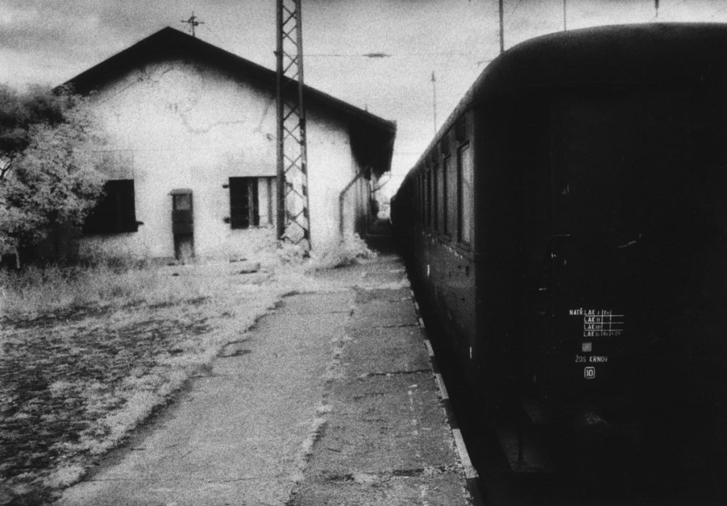 """Bohušovice train station near Theresienstadt concentration camp, Czechoslovakia."" Below, ""Harbor, Gilleleje, Denmark."""