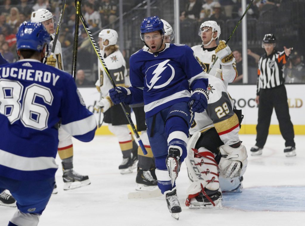 Tyler Johnson of the Lightning celebrates after scoring the first goal in Tampa Bay's 3-2 win Friday against the Vegas Golden Knights.