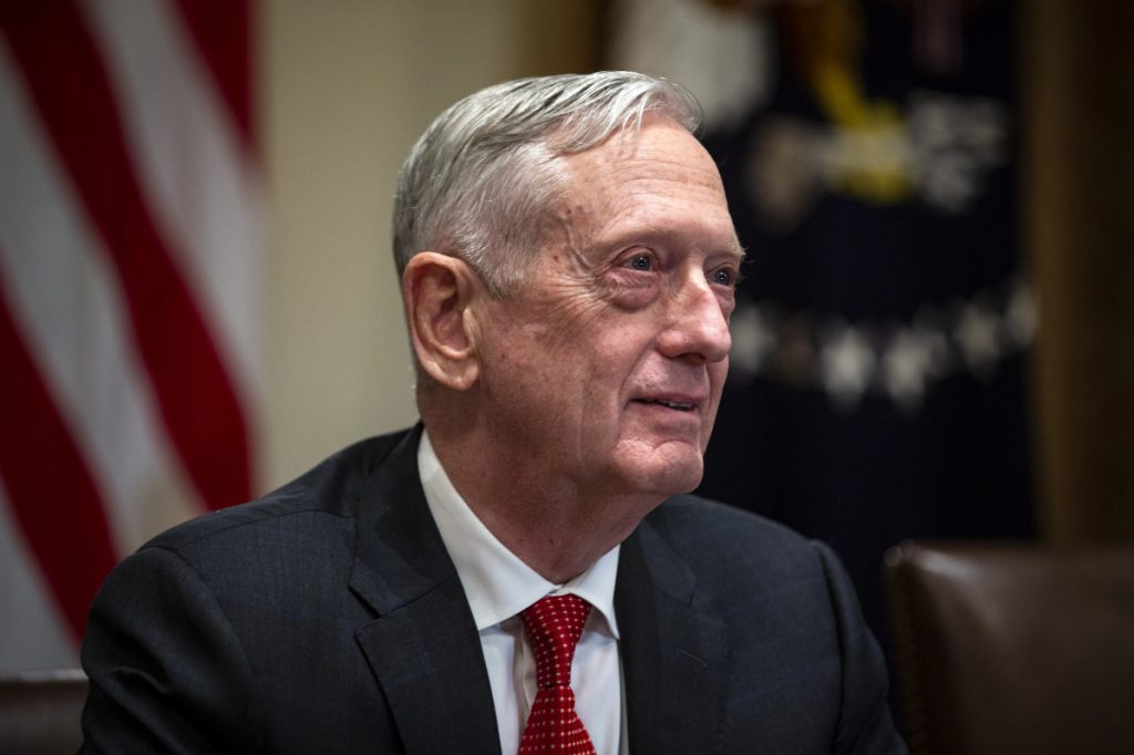 Jim Mattis, U.S. secretary of defense, delivers remarks Sunday in Bahrain warning that Mideast stability could suffer in the wake of  Jamal Khashoggi murder. (Bloomberg photo by Al Drago)