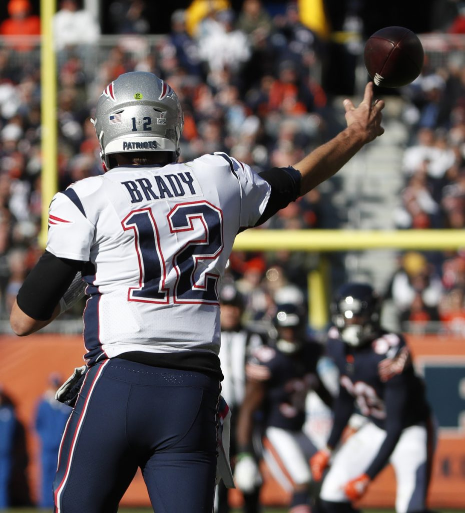 Patriots quarterback Tom Brady threw three touchdown passes against the Bears last Sunday, giving him 575 for his career, including playoffs. He could reach the all-time record if he feasts on the Bills on Monday.