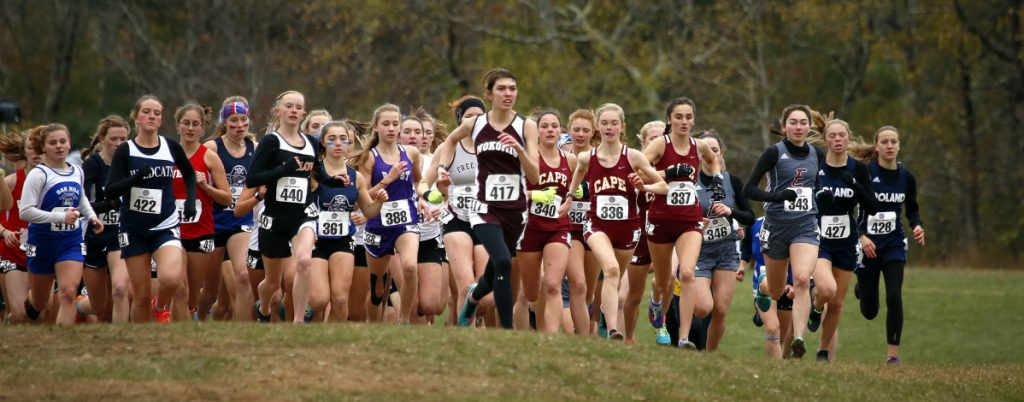 Some wore headbands, others had long sleeves, and some ran in tights as the Class B girls' cross country championship meet began Saturday. Lila Gaudrault of Cape Elizabeth embraced the cold and was the first to power to the finish.
