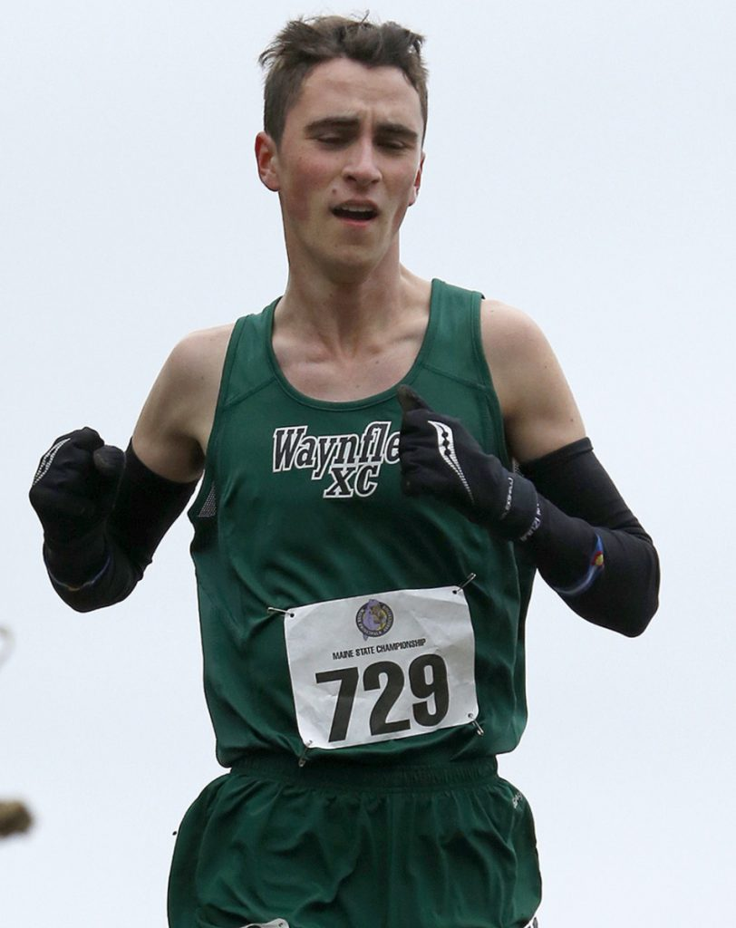 Henry Spritz of Waynflete won the Class C boys' state championship for the second straight year, finishing the 5-kilometer course in Belfast with a time of 17:03.87.