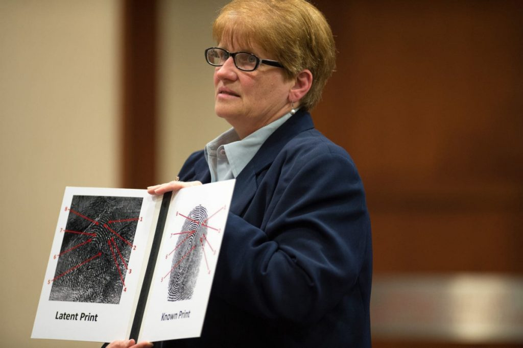 The murder of Vanessa Pham in Fairfax County, Va., was unsolved until the suspect was arrested years later for shoplifting and his fingerprint entered into the state system. Here, fingerprint expert Jean Escobedo explains the matched prints to a jury.