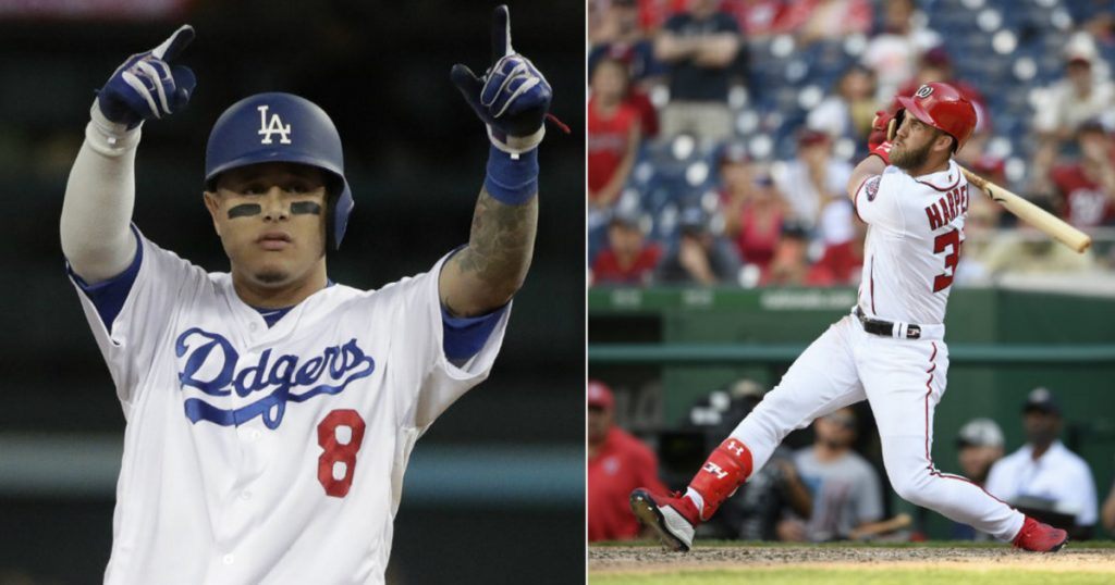 Manny Machado, left, and Bryce Harper will be among the free agents who will test the offseason market. Last year major deals were slow in being completed.
