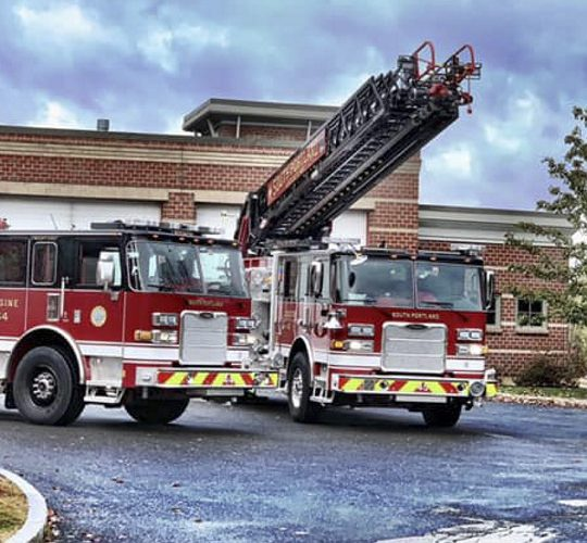 The South Portland Fire Department's new ladder truck, right, was damaged during a training exercise on Oct. 30.