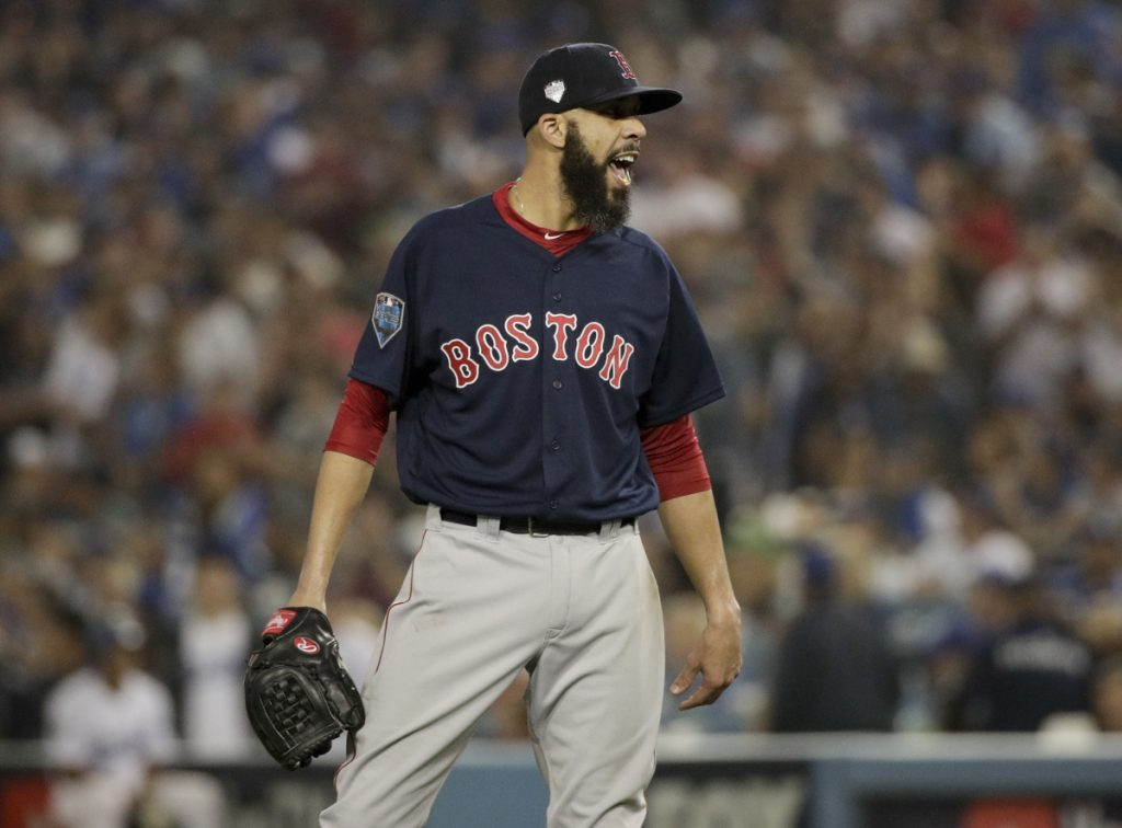 Boston starting pitcher David Price celebrates at the end of the seventh inning in Game 5 of the World Series against Los Angeles.