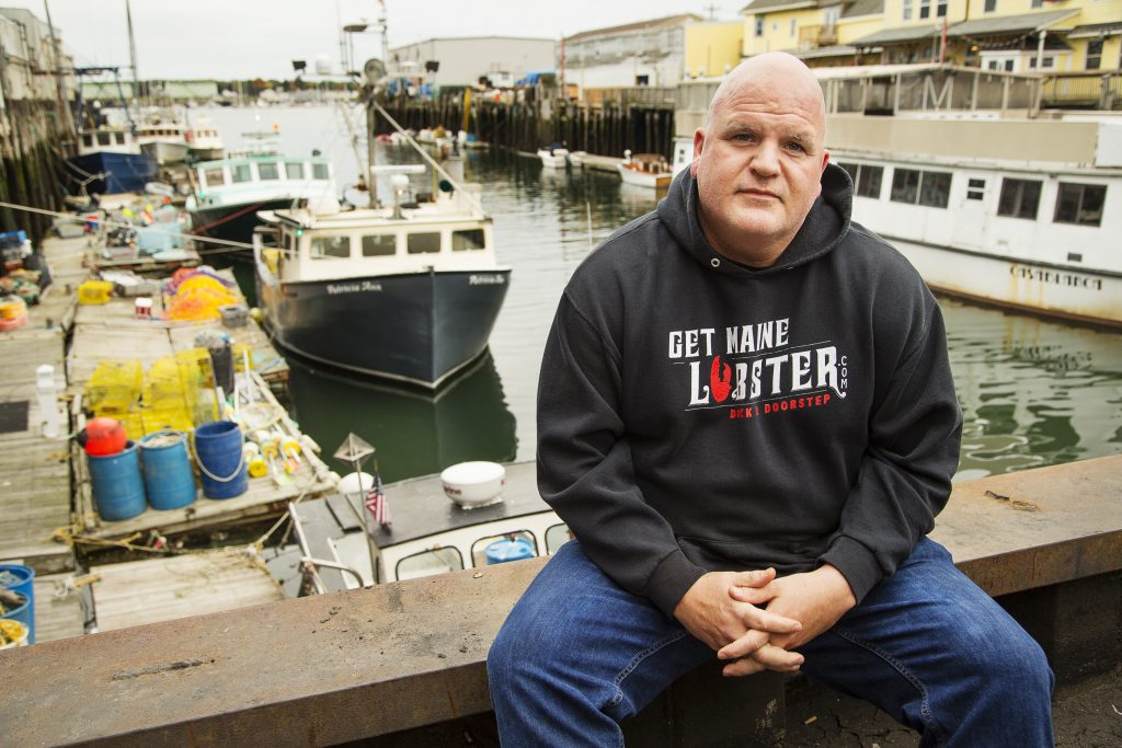 GetMaineLobster.com's Mark Murrell out on the Maine Wharf in Portland on Monday, October 8, 2018. Murrell had some of his customers say they love his product, but are boycotting Maine because of Susan Collins' vote for Supreme Court nominee Brett Kavanaugh.