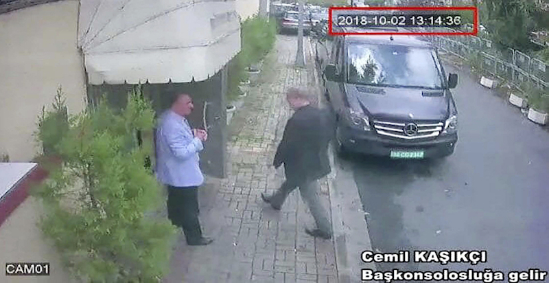 A still image made from CCTV video obtained by the Turkish newspaper Hurriyet claiming to show Saudi journalist Jamal Khashoggi entering the Saudi consulate in Istanbul, Turkey on Oct. 2, 2018.