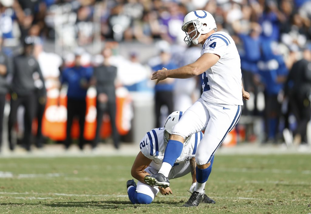 Indianapolis Colts kicker Adam Vinatieri became the NFL's all-time leading scorer in the COlts 42-28 win over the Raiders on Sunday in Oakland, California.