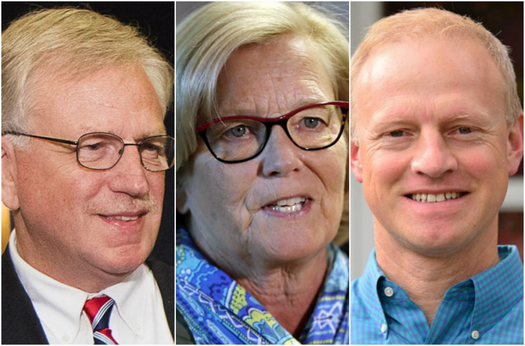 Republican Mark Holbrook, left, Democrat Chellie Pingree and independent Martin Grohman