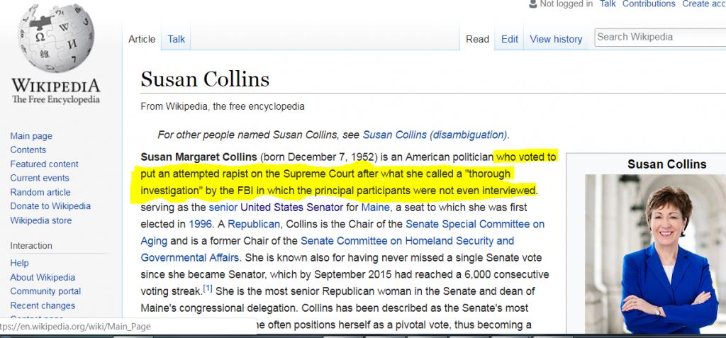 The yellow highlighting indicates an anonymous edit made to the Wikipedia page of Sen. Susan Collins.